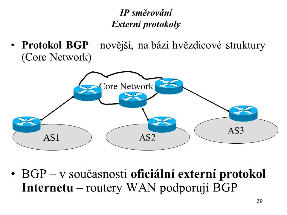 39 IP směrování Externí protokoly Protokol BGP – novější, na bázi hvězdicové struktury (Core Network) BGP – v současnosti oficiální externí protokol Internetu – routery WAN podporují BGP Core Network AS1 AS2 AS3