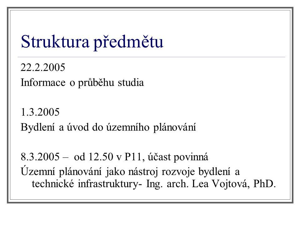 Struktura předmětu 22.2.2005 Informace o průběhu studia 1.3.2005 Bydlení a úvod do územního plánování 8.3.2005 – od 12.50 v P11, účast povinná Územní
