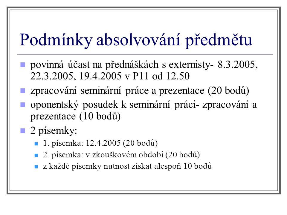 Podmínky absolvování předmětu povinná účast na přednáškách s externisty- 8.3.2005, 22.3.2005, 19.4.2005 v P11 od 12.50 zpracování seminární práce a pr
