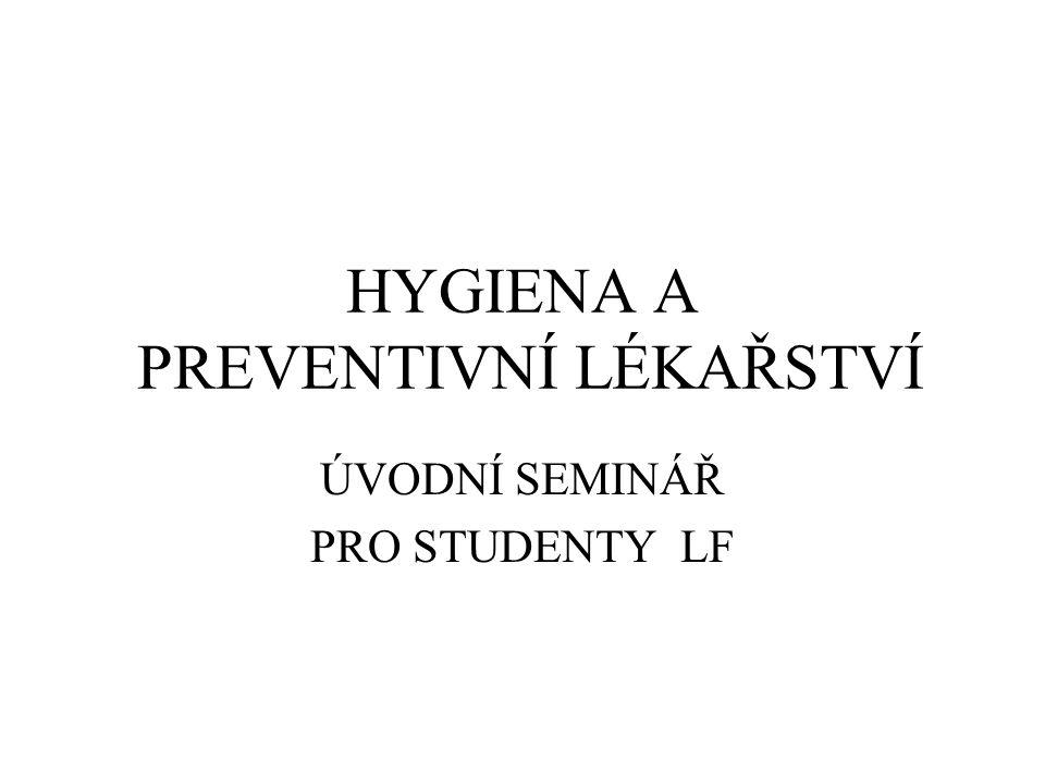 HYGIENA A PREVENTIVNÍ LÉKAŘSTVÍ ÚVODNÍ SEMINÁŘ PRO STUDENTY LF