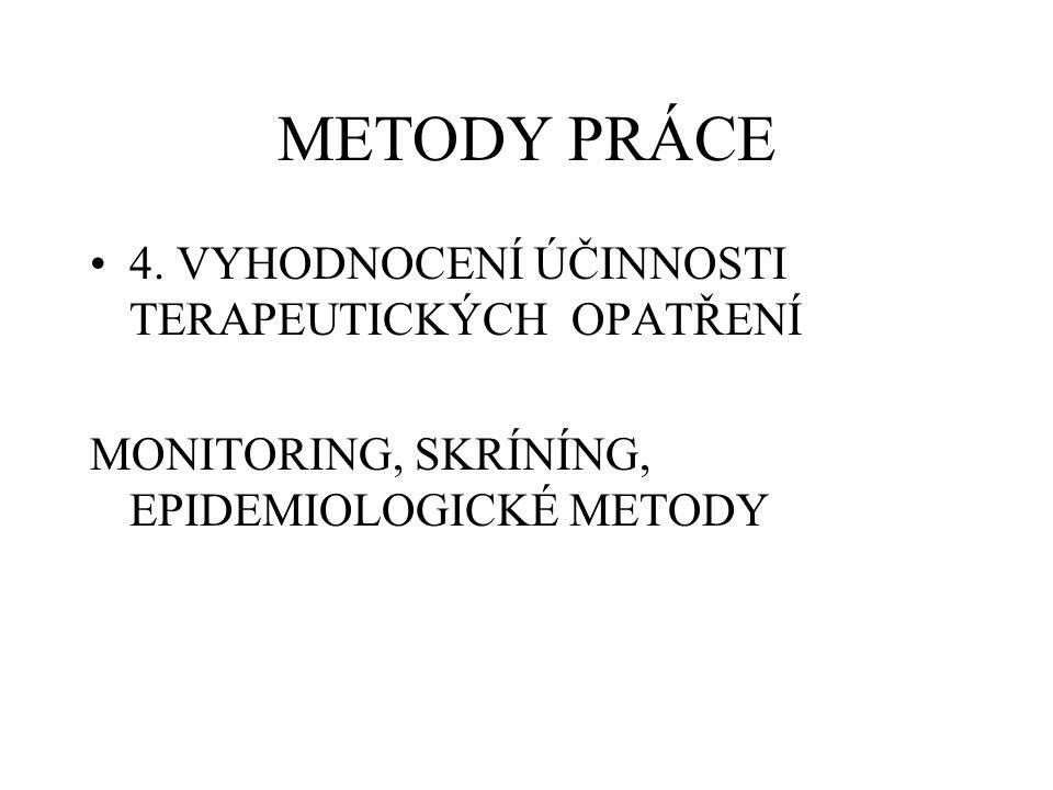 METODY PRÁCE 4. VYHODNOCENÍ ÚČINNOSTI TERAPEUTICKÝCH OPATŘENÍ MONITORING, SKRÍNÍNG, EPIDEMIOLOGICKÉ METODY