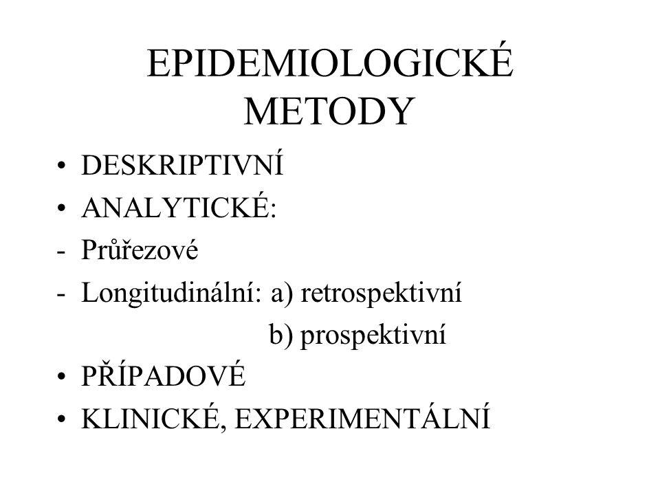 EPIDEMIOLOGICKÉ METODY DESKRIPTIVNÍ ANALYTICKÉ: -Průřezové -Longitudinální: a) retrospektivní b) prospektivní PŘÍPADOVÉ KLINICKÉ, EXPERIMENTÁLNÍ