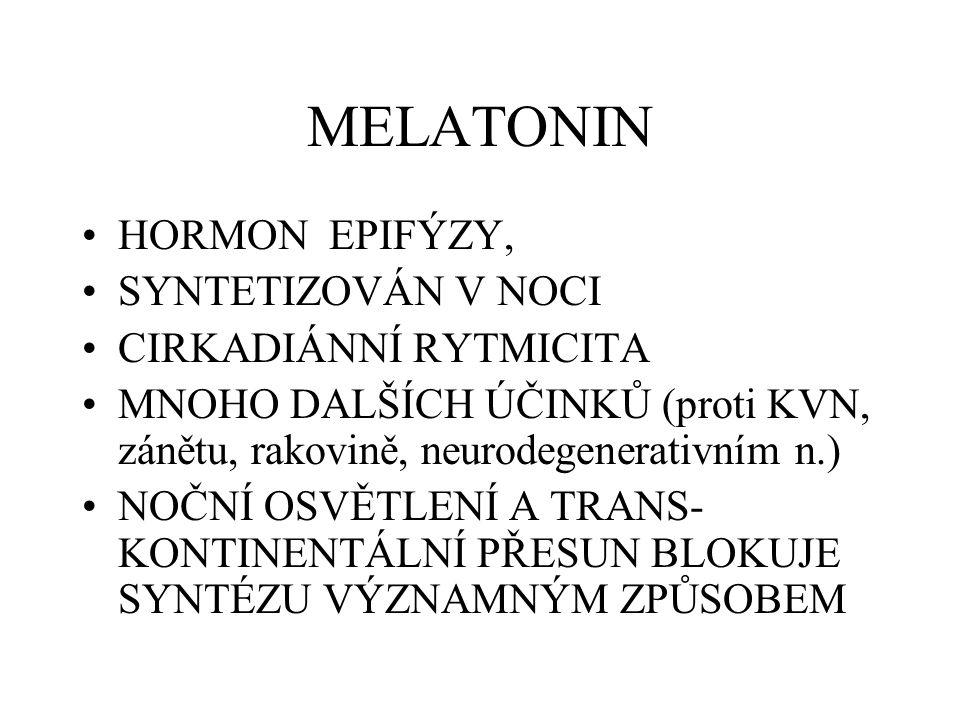 MELATONIN HORMON EPIFÝZY, SYNTETIZOVÁN V NOCI CIRKADIÁNNÍ RYTMICITA MNOHO DALŠÍCH ÚČINKŮ (proti KVN, zánětu, rakovině, neurodegenerativním n.) NOČNÍ O
