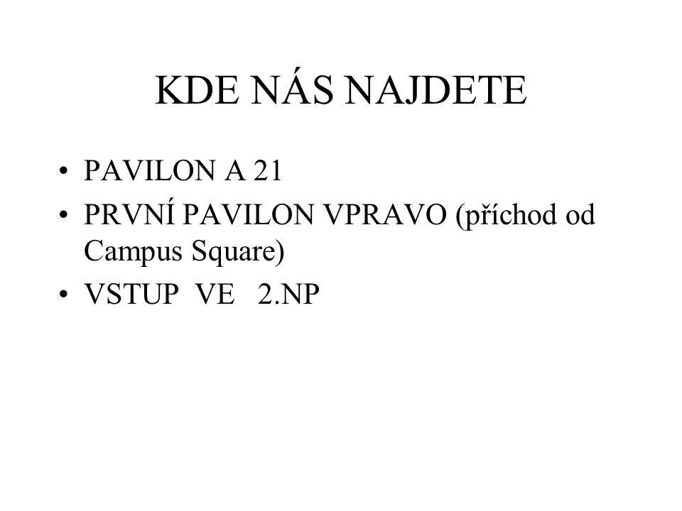 KDE NÁS NAJDETE PAVILON A 21 PRVNÍ PAVILON VPRAVO (příchod od Campus Square) VSTUP VE 2.NP