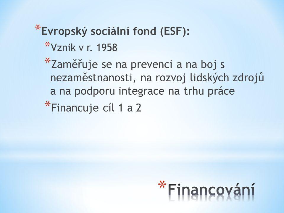 * Evropský sociální fond (ESF): * Vznik v r.