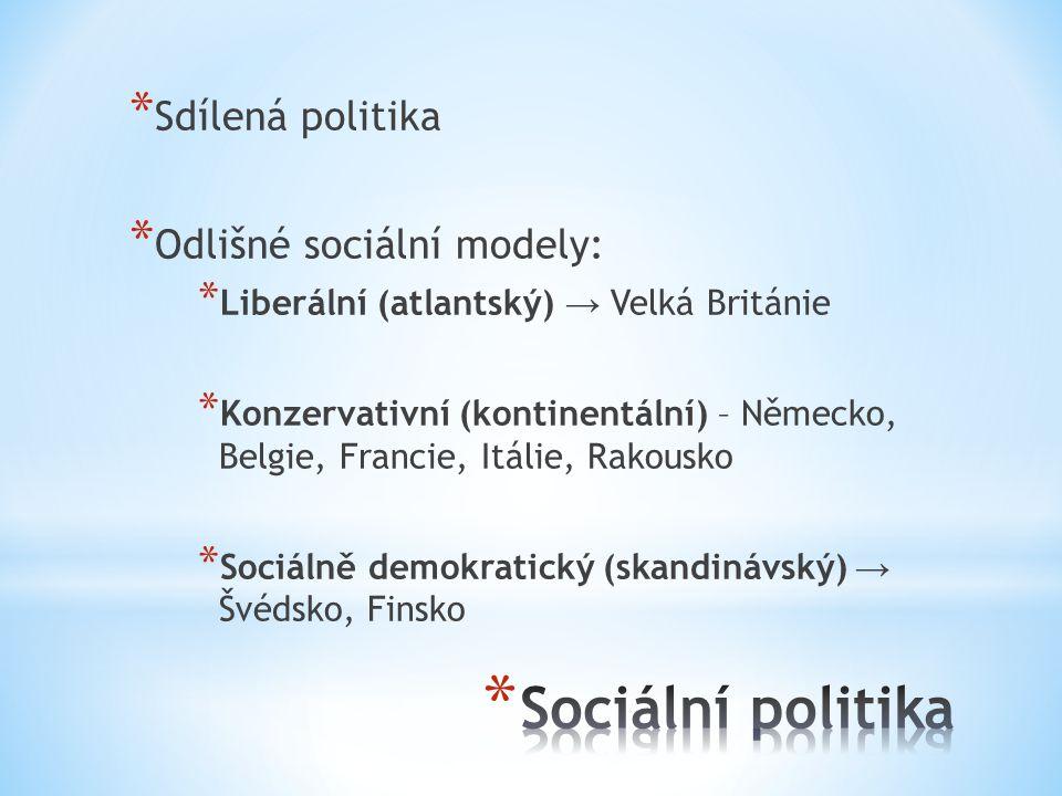 * Sdílená politika * Odlišné sociální modely: * Liberální (atlantský) → Velká Británie * Konzervativní (kontinentální) – Německo, Belgie, Francie, Itálie, Rakousko * Sociálně demokratický (skandinávský) → Švédsko, Finsko