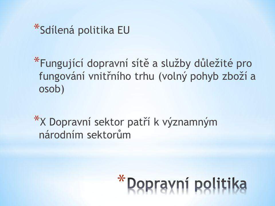 * Sdílená politika EU * Fungující dopravní sítě a služby důležité pro fungování vnitřního trhu (volný pohyb zboží a osob) * X Dopravní sektor patří k významným národním sektorům
