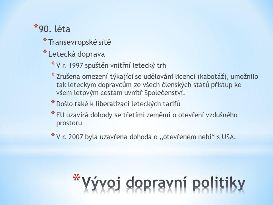* 90.léta * Transevropské sítě * Letecká doprava * V r.