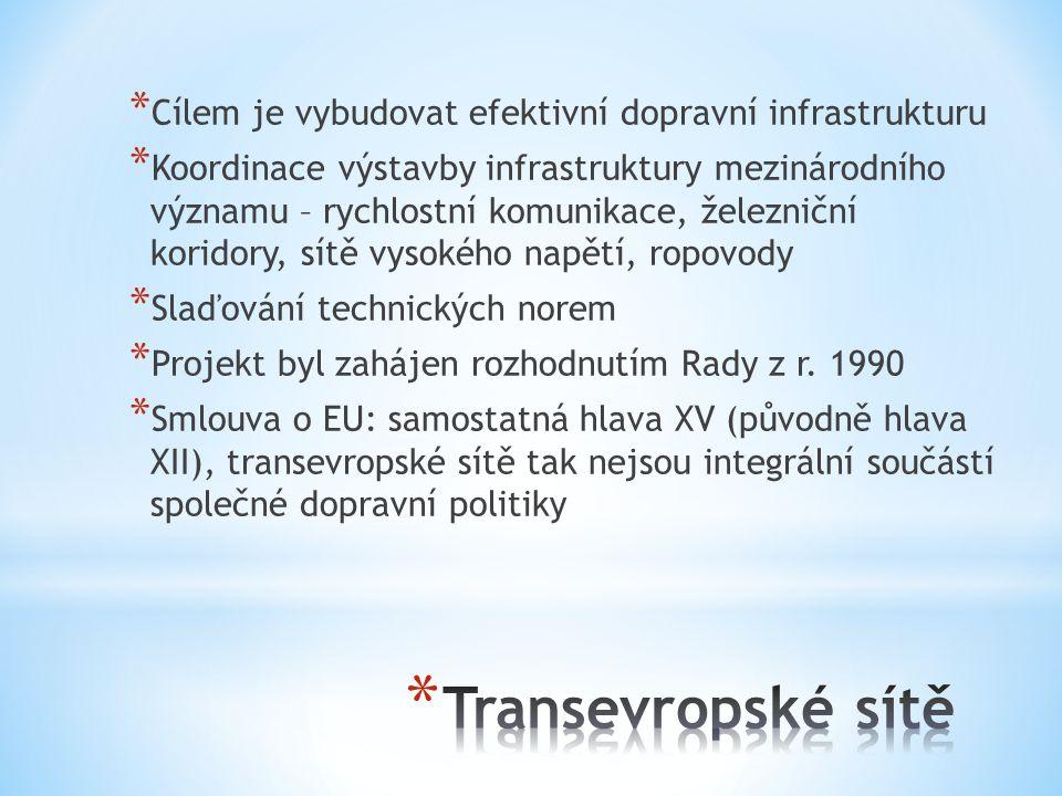 * Cílem je vybudovat efektivní dopravní infrastrukturu * Koordinace výstavby infrastruktury mezinárodního významu – rychlostní komunikace, železniční koridory, sítě vysokého napětí, ropovody * Slaďování technických norem * Projekt byl zahájen rozhodnutím Rady z r.