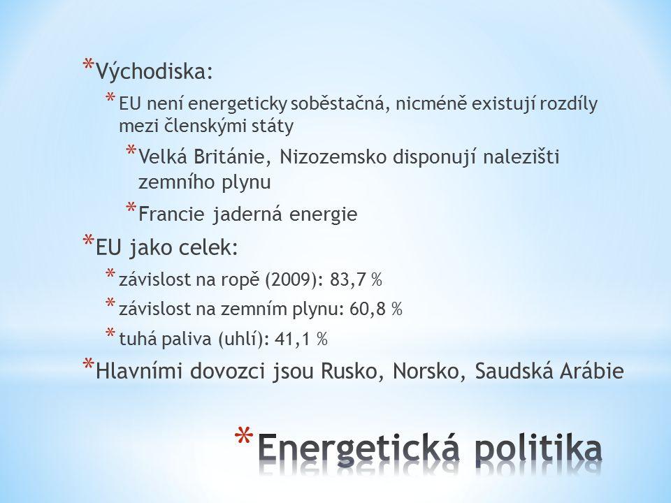 * Východiska: * EU není energeticky soběstačná, nicméně existují rozdíly mezi členskými státy * Velká Británie, Nizozemsko disponují nalezišti zemního plynu * Francie jaderná energie * EU jako celek: * závislost na ropě (2009): 83,7 % * závislost na zemním plynu: 60,8 % * tuhá paliva (uhlí): 41,1 % * Hlavními dovozci jsou Rusko, Norsko, Saudská Arábie