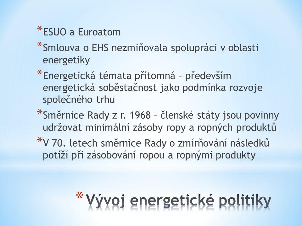 * ESUO a Euroatom * Smlouva o EHS nezmiňovala spolupráci v oblasti energetiky * Energetická témata přítomná – především energetická soběstačnost jako podmínka rozvoje společného trhu * Směrnice Rady z r.