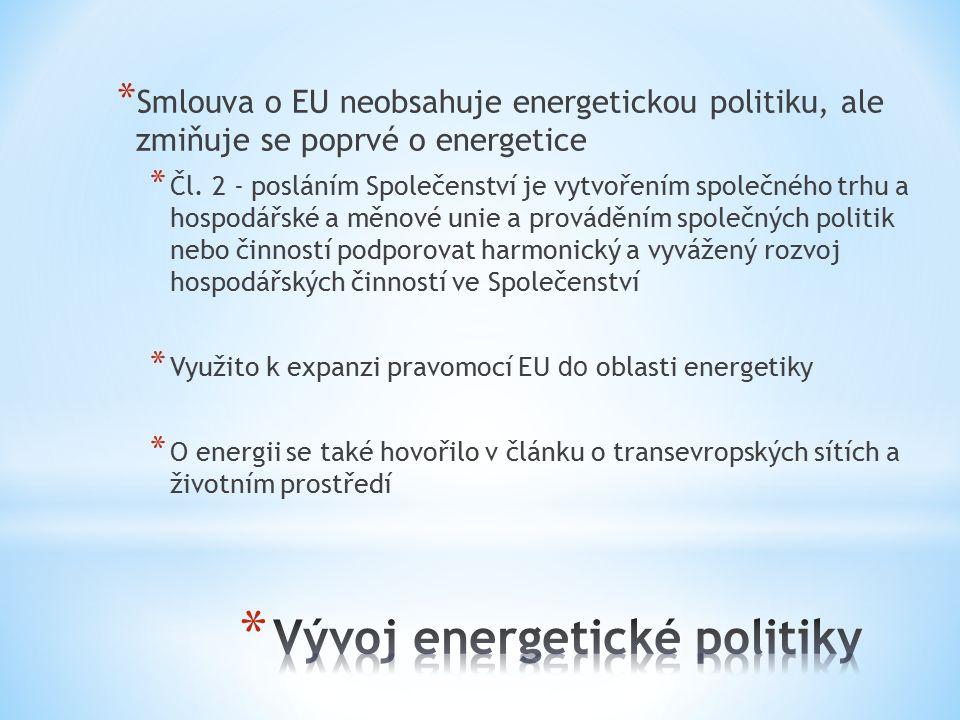 * Smlouva o EU neobsahuje energetickou politiku, ale zmiňuje se poprvé o energetice * Čl.