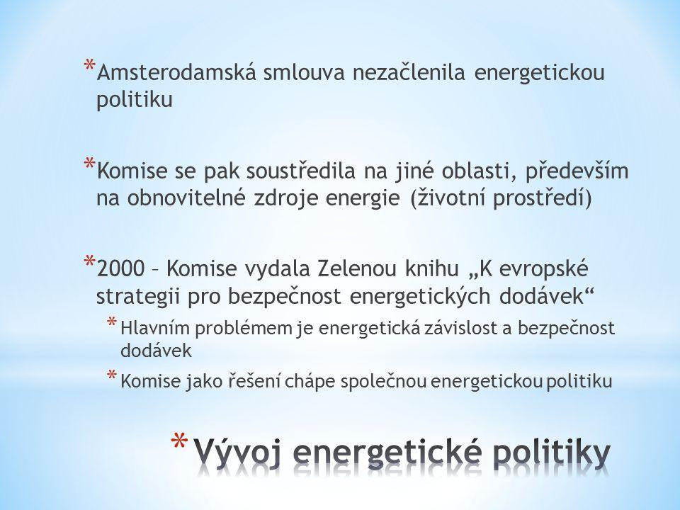 """* Amsterodamská smlouva nezačlenila energetickou politiku * Komise se pak soustředila na jiné oblasti, především na obnovitelné zdroje energie (životní prostředí) * 2000 – Komise vydala Zelenou knihu """"K evropské strategii pro bezpečnost energetických dodávek * Hlavním problémem je energetická závislost a bezpečnost dodávek * Komise jako řešení chápe společnou energetickou politiku"""