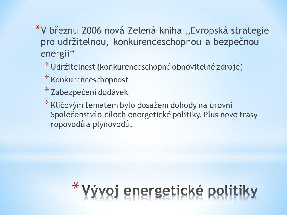 """* V březnu 2006 nová Zelená kniha """"Evropská strategie pro udržitelnou, konkurenceschopnou a bezpečnou energii * Udržitelnost (konkurenceschopné obnovitelné zdroje) * Konkurenceschopnost * Zabezpečení dodávek * Klíčovým tématem bylo dosažení dohody na úrovni Společenství o cílech energetické politiky."""