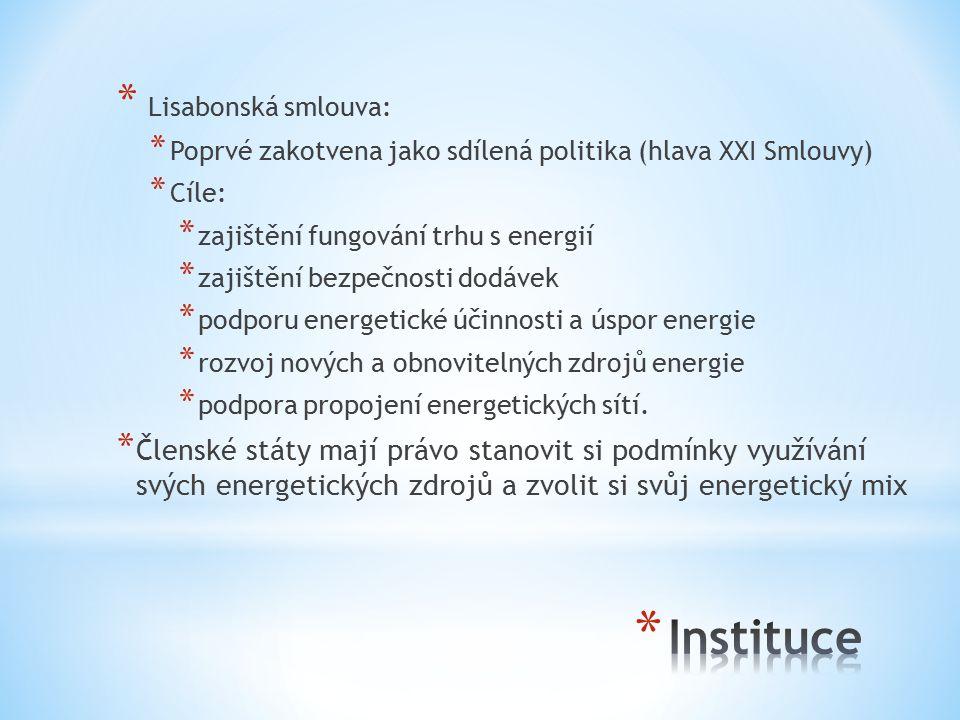 * Lisabonská smlouva: * Poprvé zakotvena jako sdílená politika (hlava XXI Smlouvy) * Cíle: * zajištění fungování trhu s energií * zajištění bezpečnosti dodávek * podporu energetické účinnosti a úspor energie * rozvoj nových a obnovitelných zdrojů energie * podpora propojení energetických sítí.