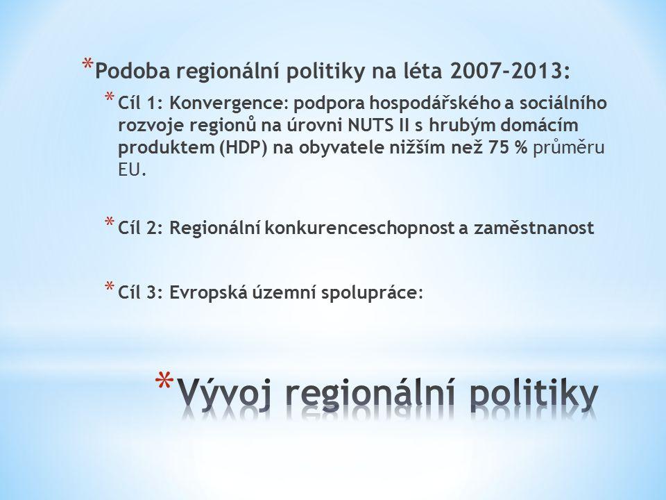 * Podoba regionální politiky na léta 2007-2013: * Cíl 1: Konvergence: podpora hospodářského a sociálního rozvoje regionů na úrovni NUTS II s hrubým domácím produktem (HDP) na obyvatele nižším než 75 % průměru EU.