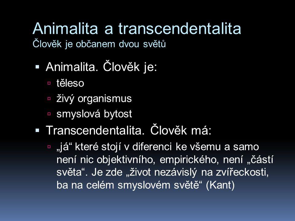 Animalita a transcendentalita Člověk je občanem dvou světů  S.