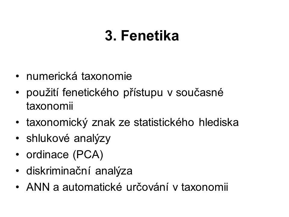 3. Fenetika numerická taxonomie použití fenetického přístupu v současné taxonomii taxonomický znak ze statistického hlediska shlukové analýzy ordinace