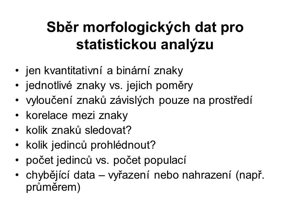 Sběr morfologických dat pro statistickou analýzu jen kvantitativní a binární znaky jednotlivé znaky vs. jejich poměry vyloučení znaků závislých pouze
