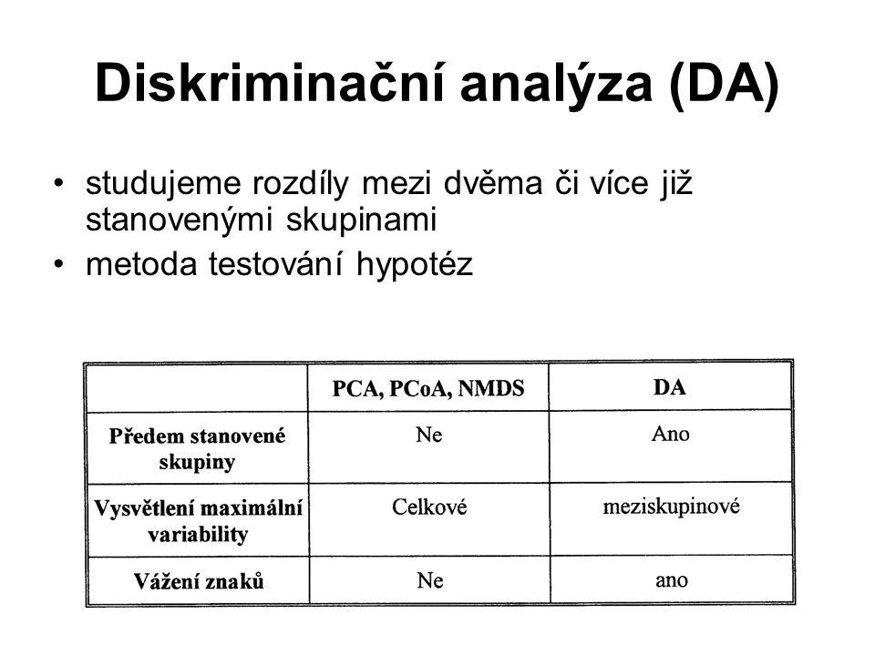 Diskriminační analýza (DA) studujeme rozdíly mezi dvěma či více již stanovenými skupinami metoda testování hypotéz