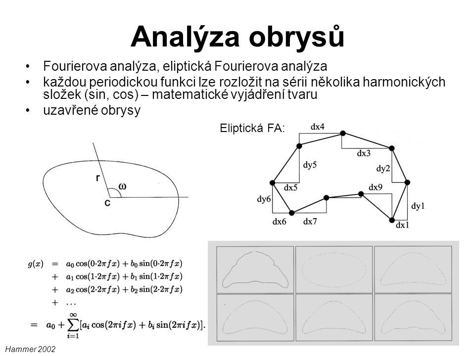 Analýza obrysů Fourierova analýza, eliptická Fourierova analýza každou periodickou funkci lze rozložit na sérii několika harmonických složek (sin, cos) – matematické vyjádření tvaru uzavřené obrysy Eliptická FA: Hammer 2002