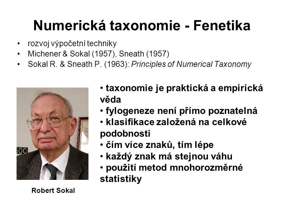 Numerická taxonomie - Fenetika rozvoj výpočetní techniky Michener & Sokal (1957), Sneath (1957) Sokal R.