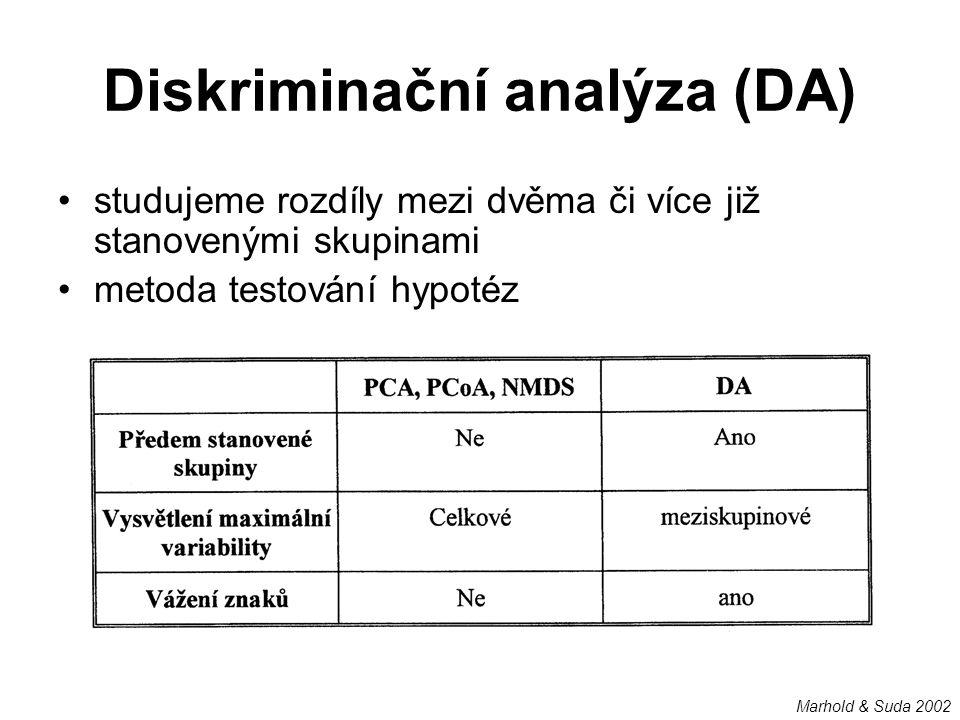 Diskriminační analýza (DA) studujeme rozdíly mezi dvěma či více již stanovenými skupinami metoda testování hypotéz Marhold & Suda 2002