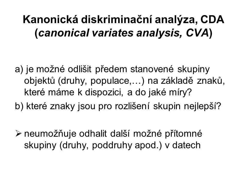 Kanonická diskriminační analýza, CDA (canonical variates analysis, CVA) a) je možné odlišit předem stanovené skupiny objektů (druhy, populace,…) na základě znaků, které máme k dispozici, a do jaké míry.