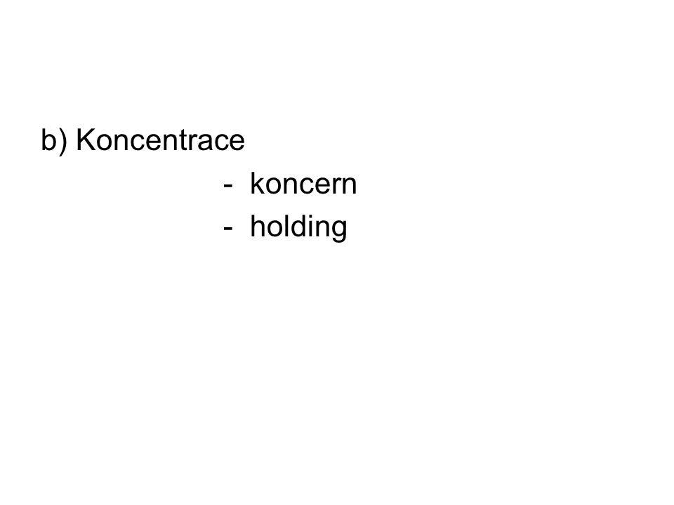 b) Koncentrace - koncern - holding