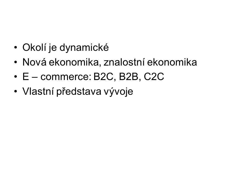 Okolí je dynamické Nová ekonomika, znalostní ekonomika E – commerce: B2C, B2B, C2C Vlastní představa vývoje
