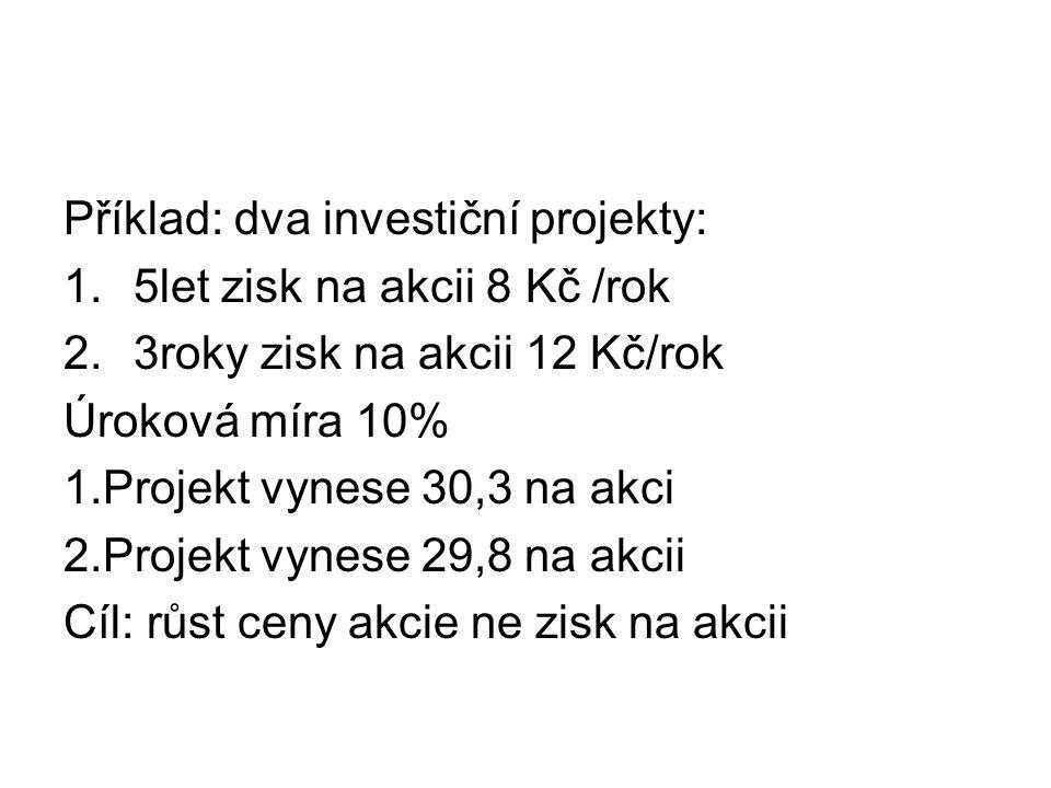 Příklad: dva investiční projekty: 1.5let zisk na akcii 8 Kč /rok 2.3roky zisk na akcii 12 Kč/rok Úroková míra 10% 1.Projekt vynese 30,3 na akci 2.Proj