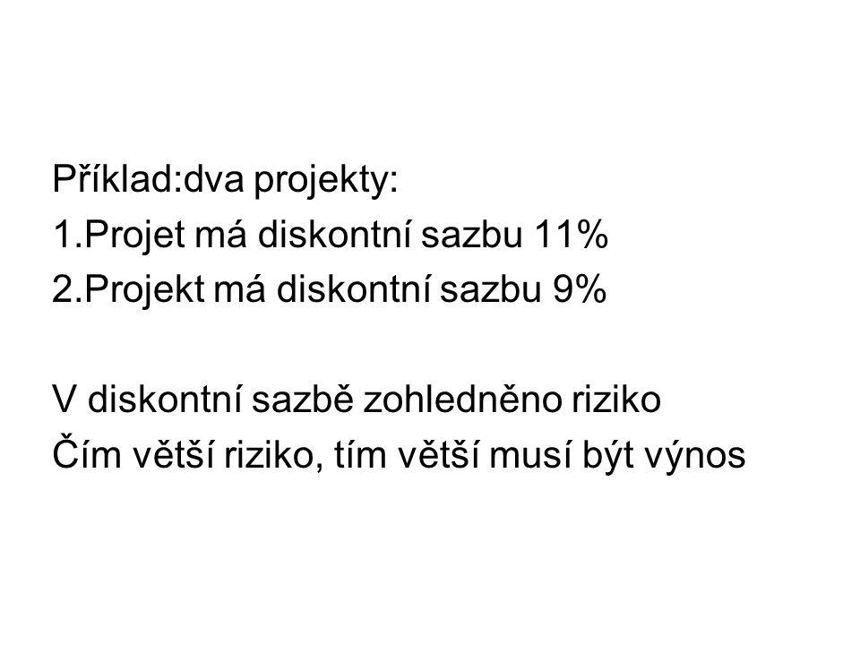 Příklad:dva projekty: 1.Projet má diskontní sazbu 11% 2.Projekt má diskontní sazbu 9% V diskontní sazbě zohledněno riziko Čím větší riziko, tím větší