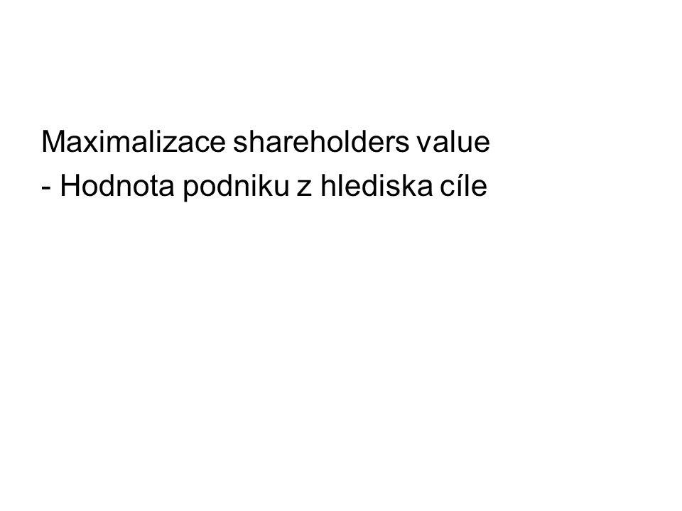 Maximalizace shareholders value - Hodnota podniku z hlediska cíle