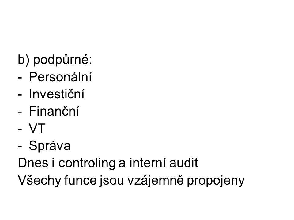b) podpůrné: -Personální -Investiční -Finanční -VT -Správa Dnes i controling a interní audit Všechy funce jsou vzájemně propojeny