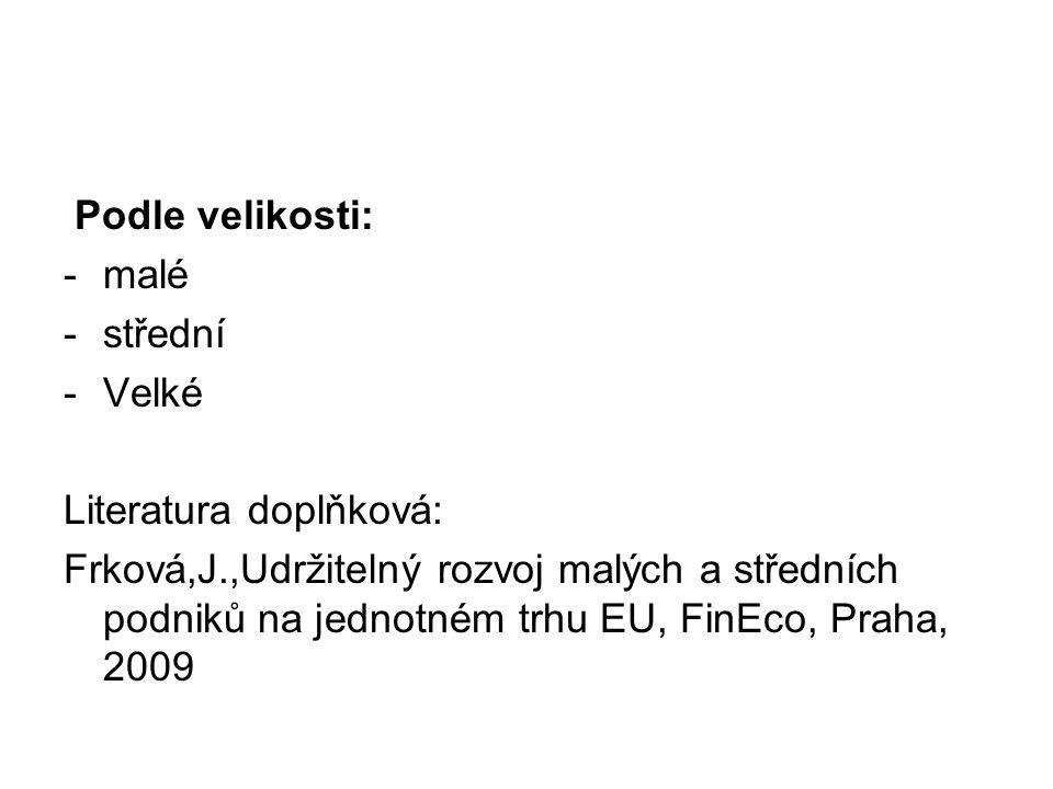 Podle velikosti: -malé -střední -Velké Literatura doplňková: Frková,J.,Udržitelný rozvoj malých a středních podniků na jednotném trhu EU, FinEco, Prah
