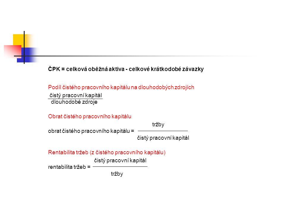 ČPK = celková oběžná aktiva - celkové krátkodobé závazky Podíl čistého pracovního kapitálu na dlouhodobých zdrojích čistý pracovní kapitál dlouhodobé