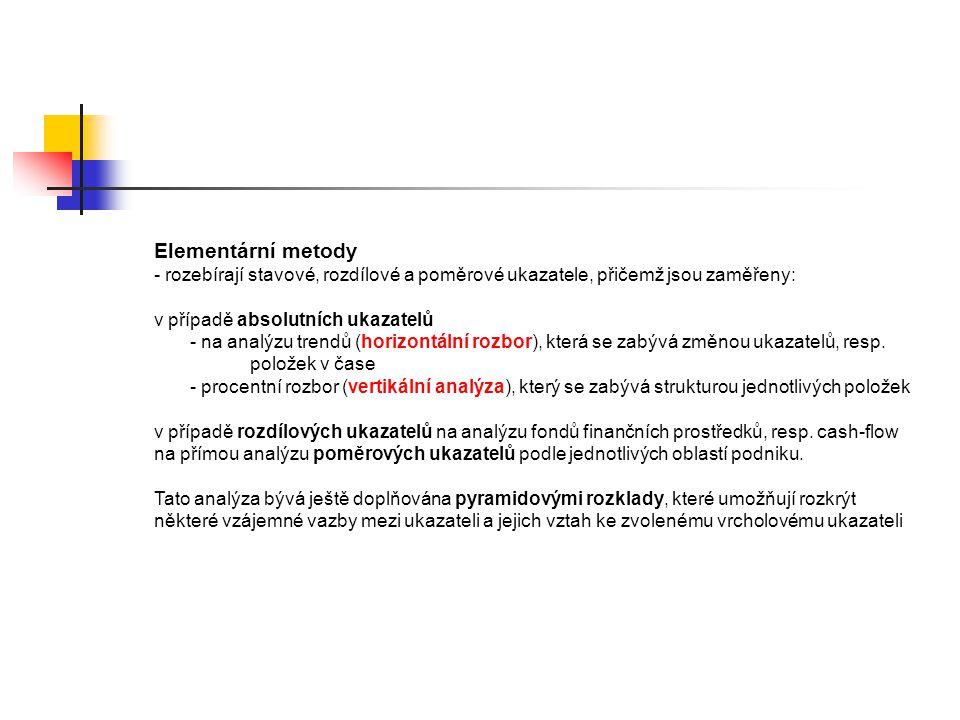 Elementární metody - rozebírají stavové, rozdílové a poměrové ukazatele, přičemž jsou zaměřeny: v případě absolutních ukazatelů - na analýzu trendů (h
