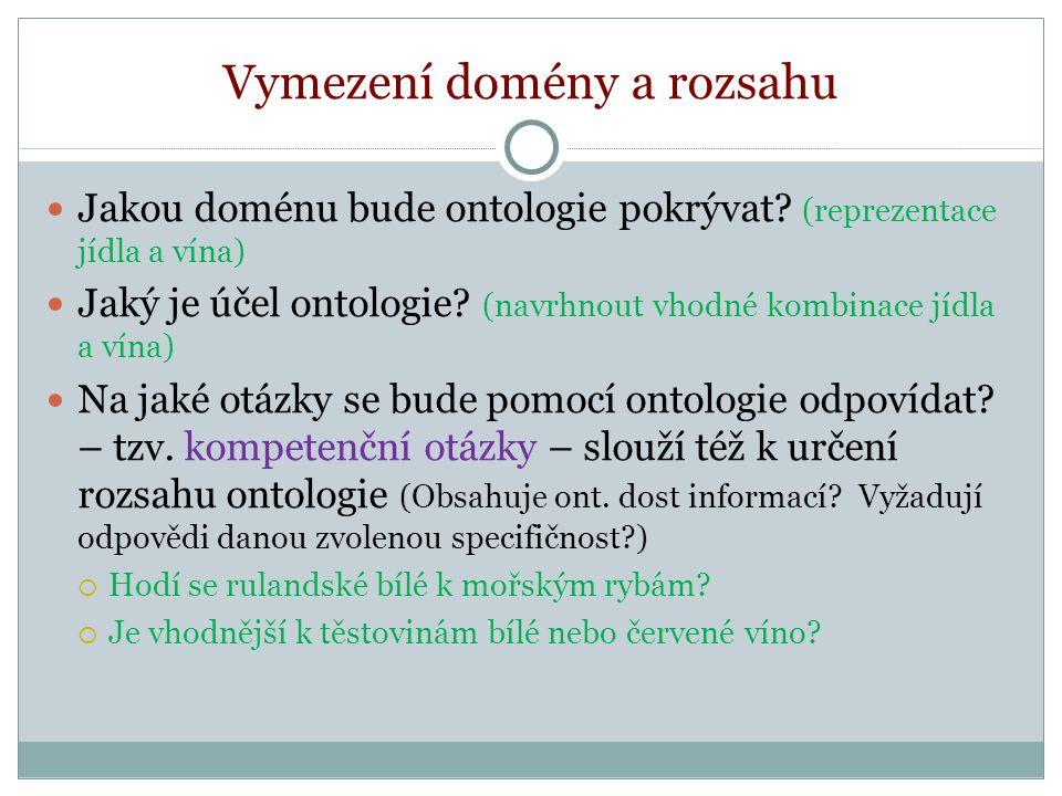 Vymezení domény a rozsahu Jakou doménu bude ontologie pokrývat.