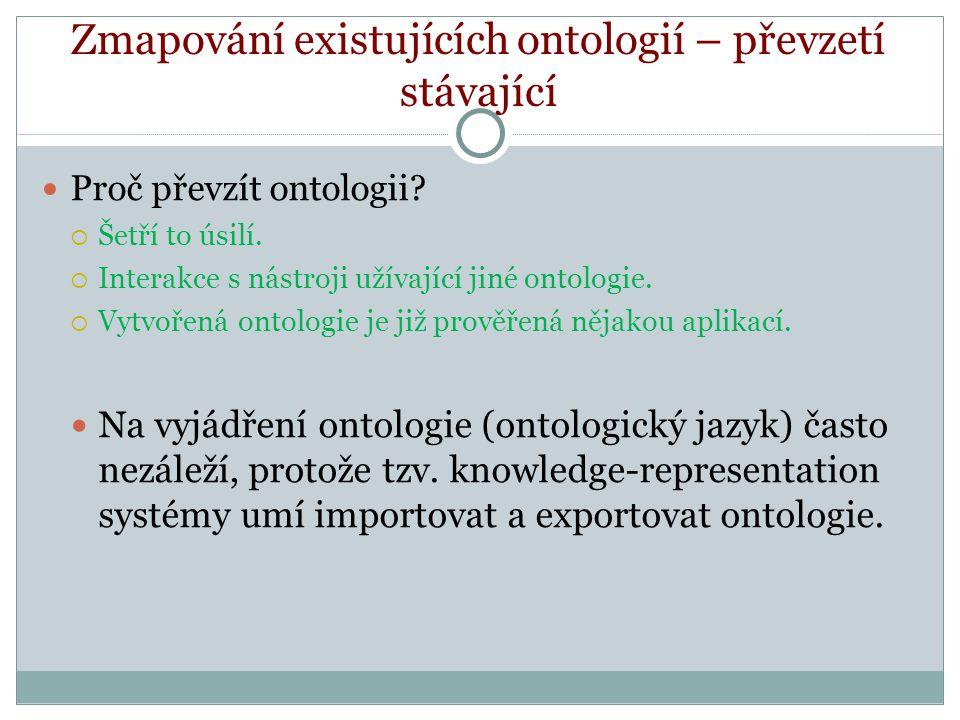 Zmapování existujících ontologií – převzetí stávající Proč převzít ontologii.