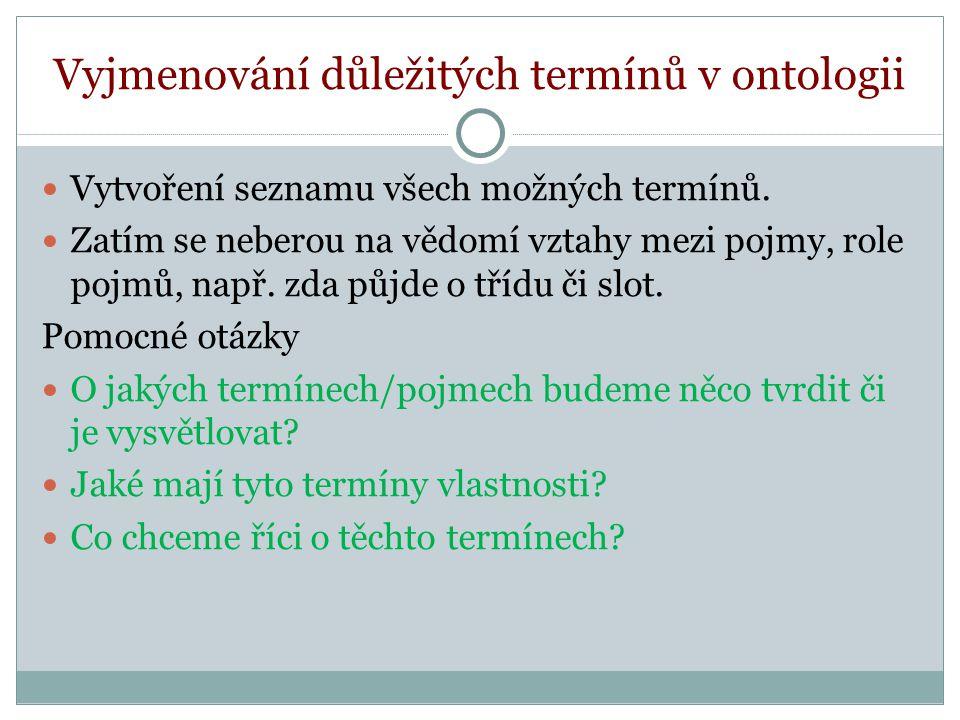 Vyjmenování důležitých termínů v ontologii Vytvoření seznamu všech možných termínů.