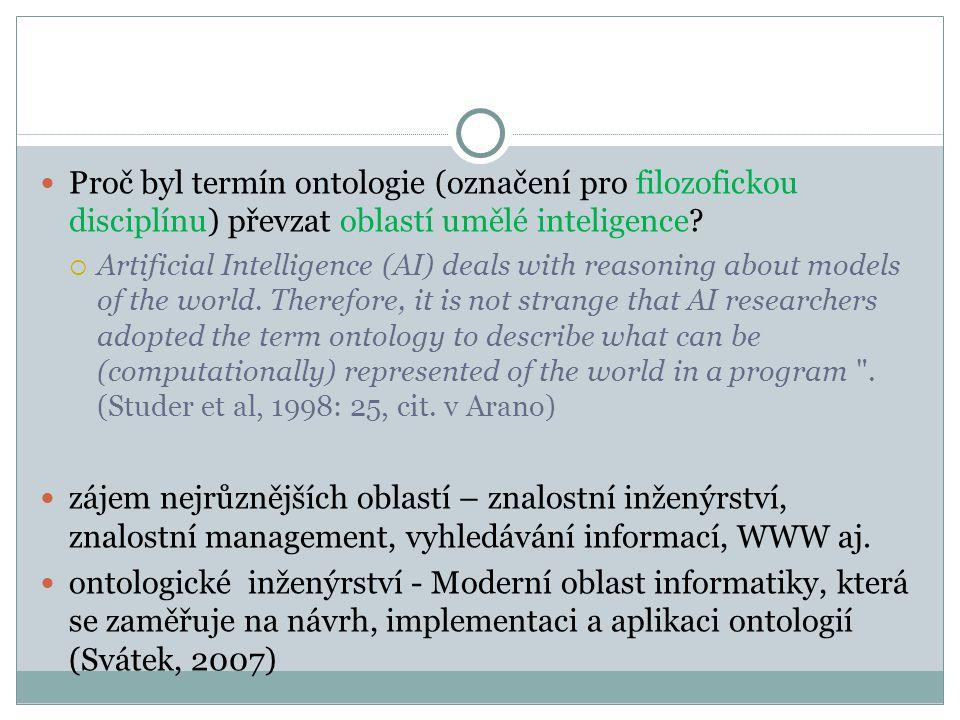 Proč byl termín ontologie (označení pro filozofickou disciplínu) převzat oblastí umělé inteligence.