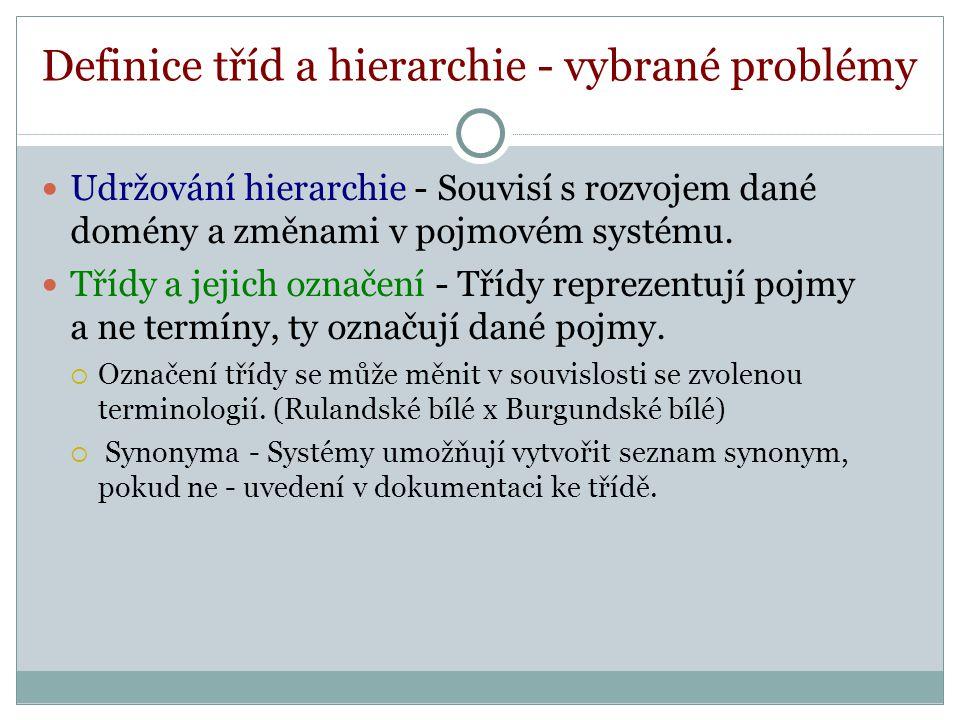 Definice tříd a hierarchie - vybrané problémy Udržování hierarchie - Souvisí s rozvojem dané domény a změnami v pojmovém systému.
