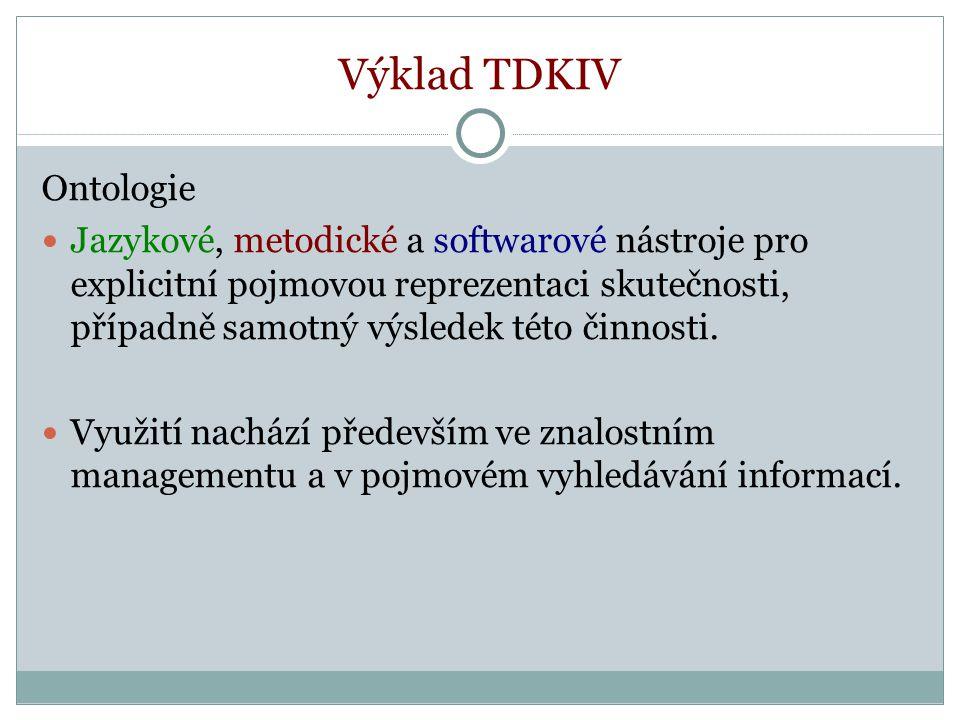 Výklad TDKIV Ontologie Jazykové, metodické a softwarové nástroje pro explicitní pojmovou reprezentaci skutečnosti, případně samotný výsledek této činnosti.