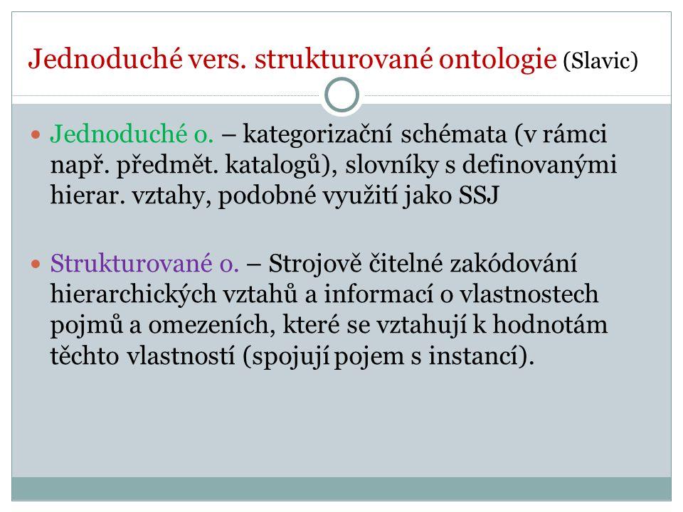 Jednoduché vers. strukturované ontologie (Slavic) Jednoduché o.