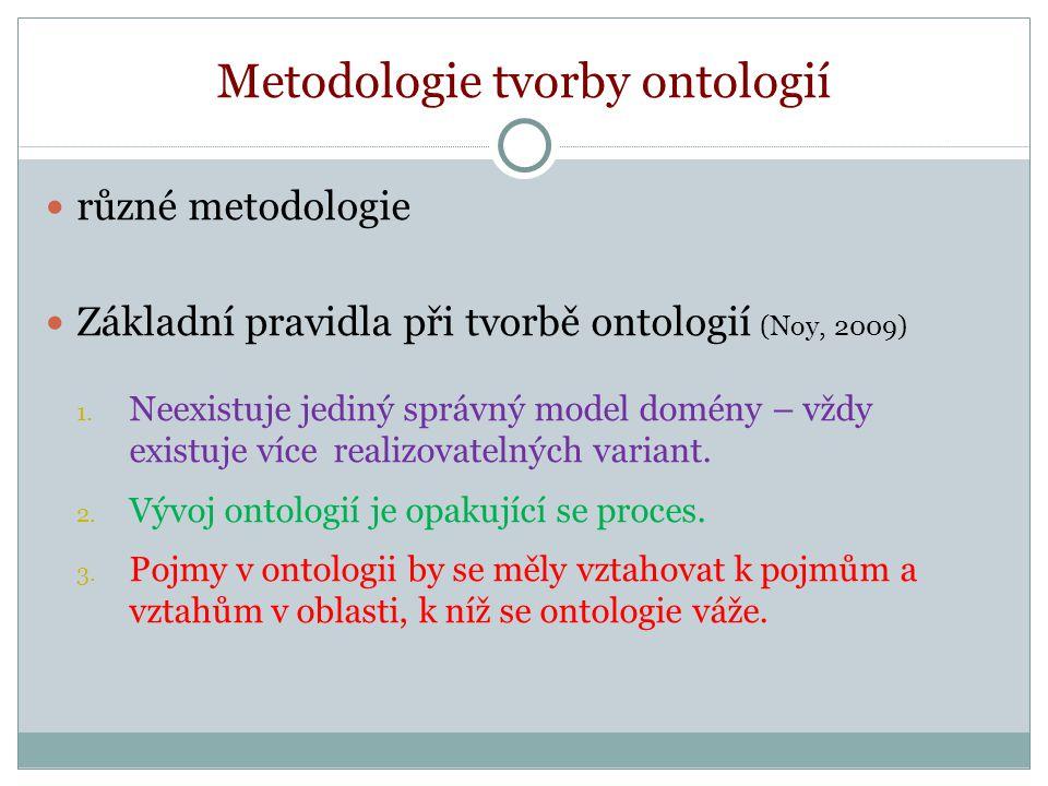 Metodologie tvorby ontologií různé metodologie Základní pravidla při tvorbě ontologií (Noy, 2009) 1.