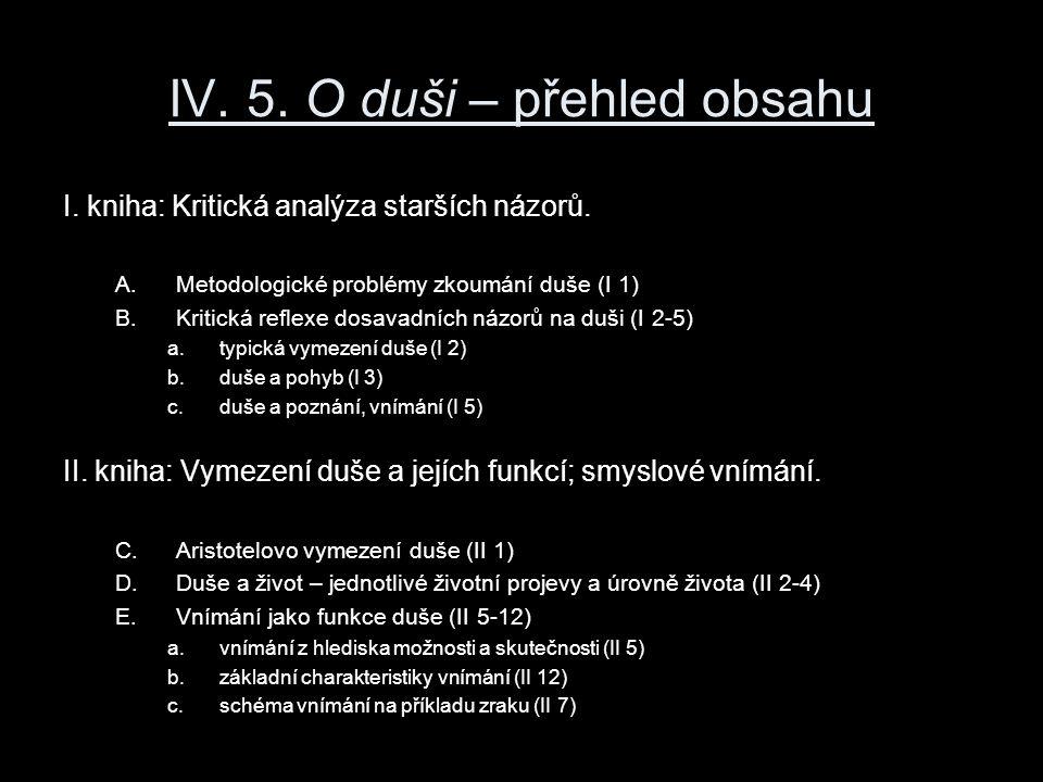 IV.5. O duši – přehled obsahu III.