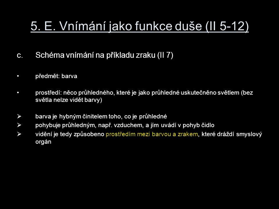 5. E. Vnímání jako funkce duše (II 5-12) c.Schéma vnímání na příkladu zraku (II 7) předmět: barva prostředí: něco průhledného, které je jako průhledné
