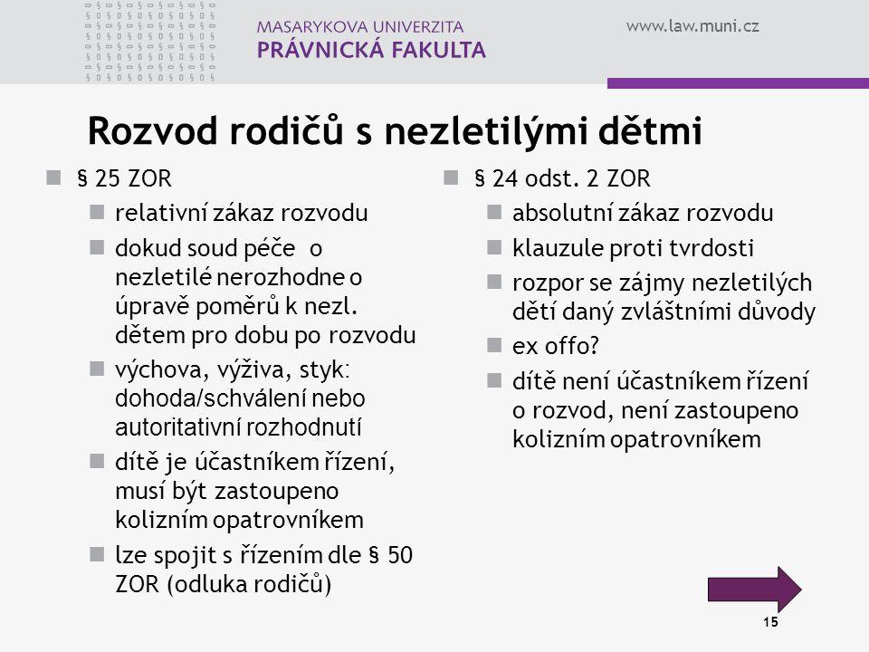 www.law.muni.cz 15 Rozvod rodičů s nezletilými dětmi § 25 ZOR relativní zákaz rozvodu dokud soud péče o nezletilé nerozhodne o úpravě poměrů k nezl.