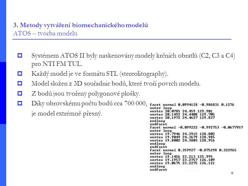 8 3. Metody vytváření biomechanického modelů ATOS – tvorba modelu  Systémem ATOS II byly naskenovány modely krčních obratlů (C2, C3 a C4) pro NTI FM