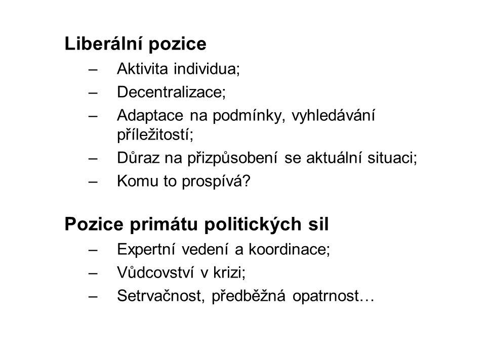Liberální pozice –Aktivita individua; –Decentralizace; –Adaptace na podmínky, vyhledávání příležitostí; –Důraz na přizpůsobení se aktuální situaci; –Komu to prospívá.